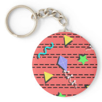 kites, stars, triangles and curvy lines keychain