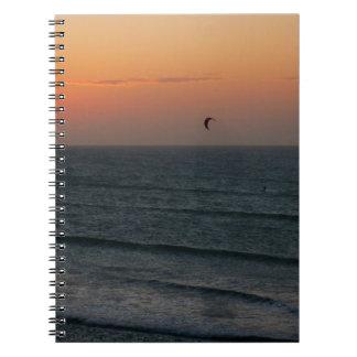 Kitesurfing at sunset notebook