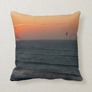 Kitesurfing at sunset throw pillow