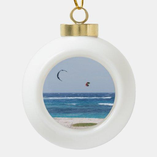 Kitesurfing Ceramic Ball Christmas Ornament