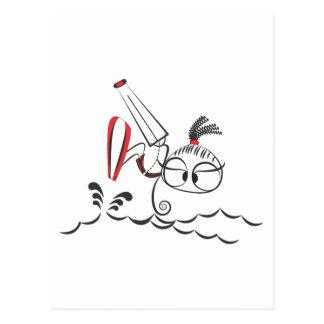 Kitesurfing doll postcard