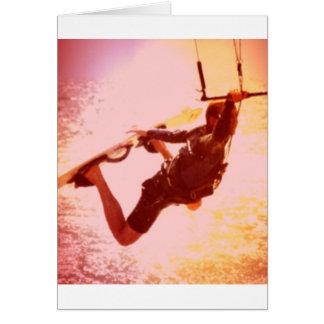 Kitesurfing Grab Greeting Card