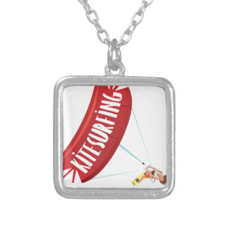 Kitesurfing Guy Silver Plated Necklace