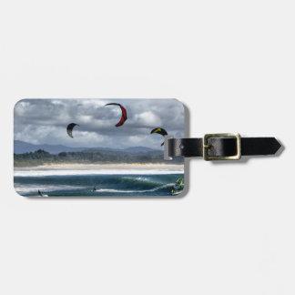 Kitesurfing on beach luggage tag