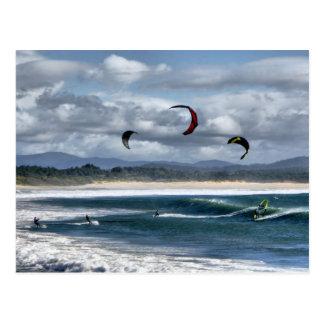 Kitesurfing on beach postcard