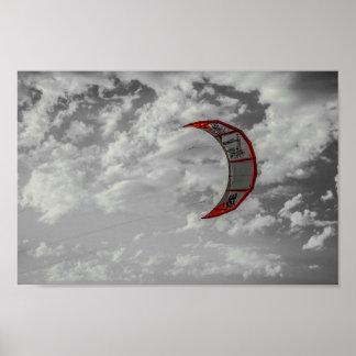 Kitesurfing on the beach. póster