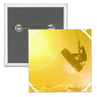 Kitesurfing Silhouette Button