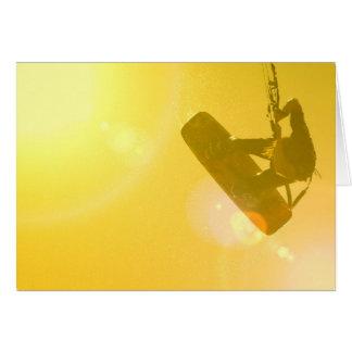 Kitesurfing Silhouette Greeting Card