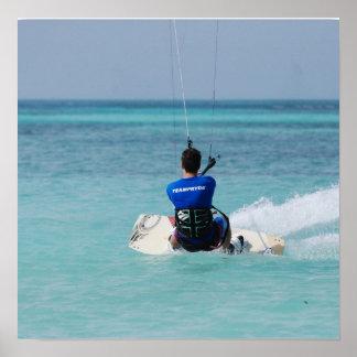 Kitesurfing tropical posters