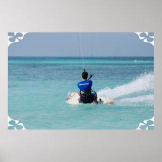 Kitesurfing tropical poster