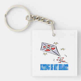 Kiting Is My Heart Single-Sided Square Acrylic Keychain