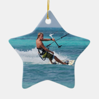 Kiting Sport Double-Sided Star Ceramic Christmas Ornament