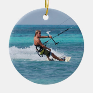 Kiting Sport Double-Sided Ceramic Round Christmas Ornament