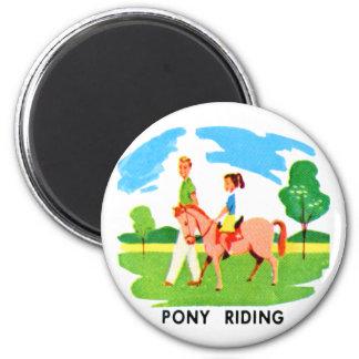 Kitsch 60s Vintage Resort Pony Riding Illustration 2 Inch Round Magnet