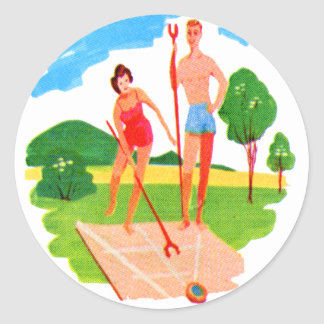 Kitsch 60s Vintage Resort Shuffleboard Couple Classic Round Sticker