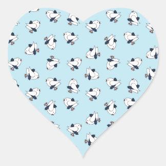 Kitsch Baby Birds in Kilts Heart Stickers