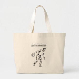 Kitsch Classic Three-Step Approach Bowling Guy Large Tote Bag