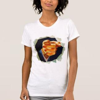 Kitsch del vintage que señala el dedo le quiero camisetas