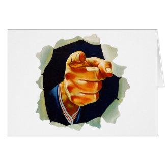 Kitsch del vintage que señala el dedo le quiero tarjeta de felicitación