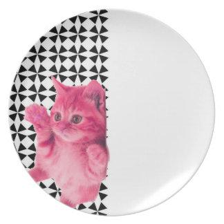 kitsch pink cat melamine plate
