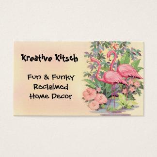 Kitsch Pink Flamingo Vintage Business Card