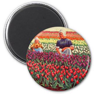 Kitsch retro Amsterdam del vintage de Tulpe de los Imán Redondo 5 Cm