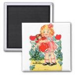 Kitsch retro de la tarjeta del día de San Valentín Iman De Frigorífico