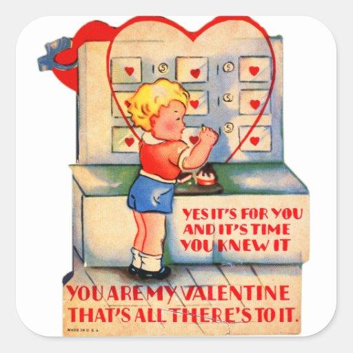 Kitsch retro de la tarjeta del día de San Valentín Pegatina Cuadrada