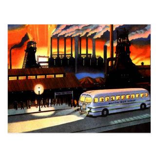 Kitsch retro del vintage el autobús y la industria postales