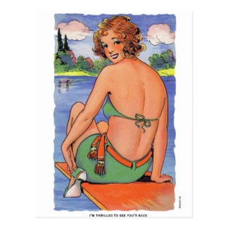 Kitsch retro del vintage emocionado para verle tarjeta postal