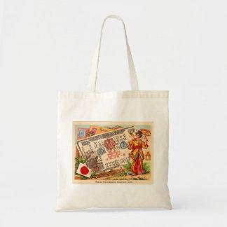 Kitsch retro del vintage hecho en la tarjeta de Ja Bolsas Lienzo