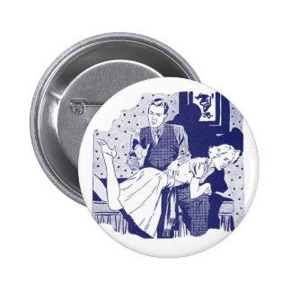 Kitsch retro del vintage que azota a la esposa pin redondo de 2 pulgadas