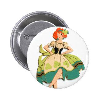 Kitsch retro del vintage que baila al chica irland pin redondo de 2 pulgadas