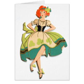 Kitsch retro del vintage que baila al chica irland tarjeta de felicitación