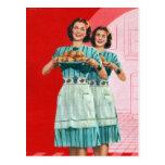 Kitsch retro del vintage que cocina al ama de casa postales