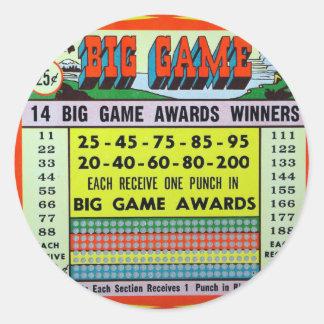 Kitsch retro del vintage que juega el gran juego pegatina redonda
