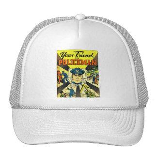 Kitsch retro del vintage su amigo el policía gorros