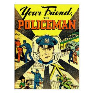 Kitsch retro del vintage su amigo el policía postal