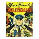 Kitsch retro del vintage su amigo el policía tarjetas postales