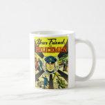 Kitsch retro del vintage su amigo el policía taza de café