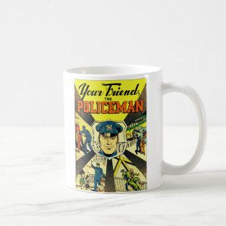 Kitsch retro del vintage su amigo el policía taza