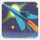 Kitsch retro Rocket del vintage al espacio exterio Calcomanias Cuadradas
