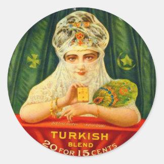 Kitsch retro turco del vintage del tabaco de pegatina redonda