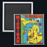 """Kitsch Retro Vintage Michigan Decal Wolverine Magnet<br><div class=""""desc"""">Kitsch Retro Vintage Michigan Decal The Wolverine State,  cool sixties travel decal! Neat vivid colors and fun graphic design! Old ephemera at it&#39;s best!</div>"""