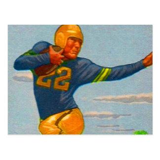 Kitsch Vintage 40s Football Player Stiff Arm Post Card