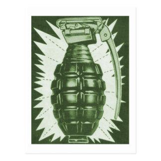 Kitsch Vintage 'Actual Hand Grenade' Comic Ad Postcard