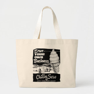 Kitsch Vintage Ad Chilly Serv Ice Cream Large Tote Bag