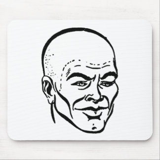 Kitsch Vintage Ad Comic Bald Wig Head Mouse Pad