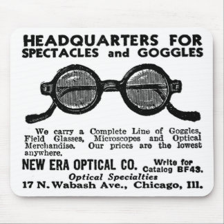 Kitsch Vintage Ad Googles and Eyewear Glasses Mouse Pad