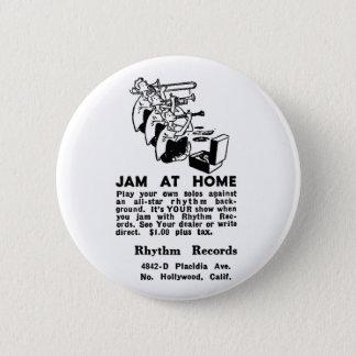 Kitsch Vintage Ad Jam at Home Jazz Button